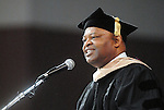 Keynote speaker Kase Lawal, CEO of CAMAC, gives words of wisdom to the more than 700 graduates at the Texas Southern University commencement Saturday May 16,2009.(Dave Rossman/For the Chronicle)