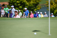 Justin Thomas (USA) watches his bunker shot roll near the cup on 9 during round 1 of the 2019 Tour Championship, East Lake Golf Course, Atlanta, Georgia, USA. 8/22/2019.<br /> Picture Ken Murray / Golffile.ie<br /> <br /> All photo usage must carry mandatory copyright credit (© Golffile | Ken Murray)