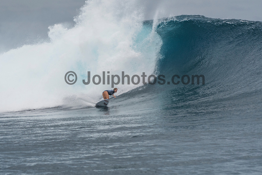 Namotu Island Resort, Nadi, Fiji (Monday, May 22 2017): Bethany Hamilton (HAW) - The wind  this morning was light from the South South East with high tide around 3.30pm.  The swell had jumped overnight and continued to build through the day. Cloudbreak had 10' plus faces and was barreling through the inside ,especially around the 9.30 low tide. A big group of pro surfers, both male and female, were surfing Cloudbreak in preparation for the OK Fiji Pro which begins on Saturday. Guests surfed Cloudbreak and Lefts.   The fishing crew returned with a catch of Ruby Snapper. Photo: joliphotos.com