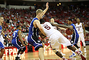 NC State's C.J. Leslie drives against Duke's Mason Plumlee at PNC Arena, Raleigh, NC, Jan. 12, 2013. The Wolfpack defeated the Blue Devils 84-76.
