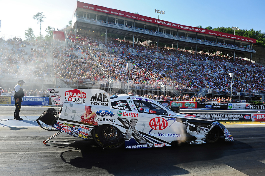 Jun. 15, 2012; Bristol, TN, USA: NHRA funny car driver Robert Hight during qualifying for the Thunder Valley Nationals at Bristol Dragway. Mandatory Credit: Mark J. Rebilas-