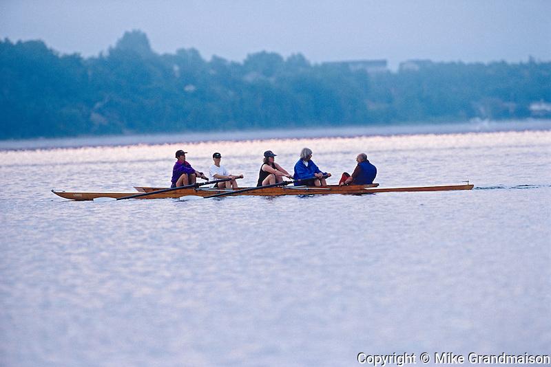 Rowing on Lake Ramsey at dawn<br /> Sudbury<br /> Ontario<br /> Canada