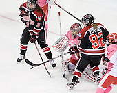 Katie MacSorley (Northeastern - 3), Kerrin Sperry (BU - 1), Lucie Povova (Northeastern - 92) - The Boston University Terriers defeated the visiting Northeastern University Huskies 3-2 on Saturday, January 28, 2012, at Agganis Arena in Boston, Massachusetts.