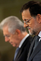 Mariano Rajoy and Mario Monti at press conference in a bilateral Hispanic-Italian meeting
