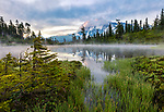 Mount Baker-Snoqualmie National Forest, WA: Picture Lake with clouds around Mount Shuksan at sunrise