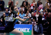 17 OCT 2009 - LOUGHBOROUGH, GBR - Goto Ai prepares to return during her womens singles match against Elizabeth Cann at the Team England v Japan International (PHOTO (C) NIGEL FARROW)