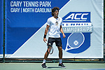 Skander Mansouri of the Wake Forest Demon Deacons during his match at #1 doubles against the North Carolina Tar Heels at the 2018 ACC Men's Tennis Championship at the Cary Tennis Center on April 29, 2018 in Cary, North Carolina.  The Demon Deacons defeated the Tar Heels 4-0.  (Brian Westerholt/Sports On Film)