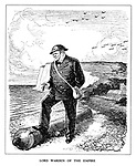 Lord Warden of the Empire. (cartoon showing Winston Churchill standing on a cannon dressed as an air raid warden at the beach at Dover during WW2 as RAF planes fly overhead)
