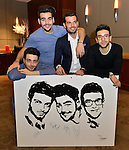 CORAL GABLES, FL - MARCH 05: Gianluca Ginoble, Piero Barone, Ignazio Boschetto of IL Volvo and Artist Fabio Ingrassia (2nd from R)  backstage during a meet and greet at Bank United Center on Saturday March 05, 2016 in Miami, Florida. ( Photo by Johnny Louis / jlnphotography.com )
