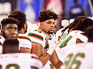Charlotte, NC - DEC 2, 2017: Miami Hurricanes defensive lineman Trent Harris (33) sports the coveted turnover chain after coming up with a fumble recovery during ACC Championship game between Miami and Clemson at Bank of America Stadium Charlotte, North Carolina. (Photo by Phil Peters/Media Images International)