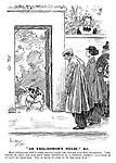 """""""An Englishman's House,"""" &c. Maid (looking over wall to newly-married couple just returned from their honeymoon). """"Oh, please 'm, that dog was sent here yesterday as a wedding present; And none of us can't go near him. You'll have to come in by the back way!"""""""