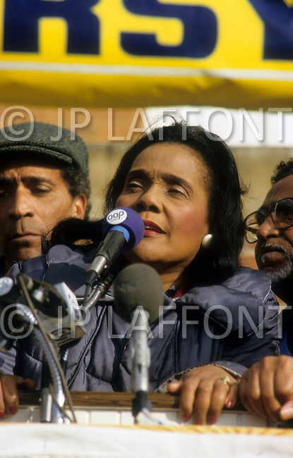 Georgia, Forsyth County, Cumming, 14th, January, 1987. Coretta King speaking during the protest  against racism.