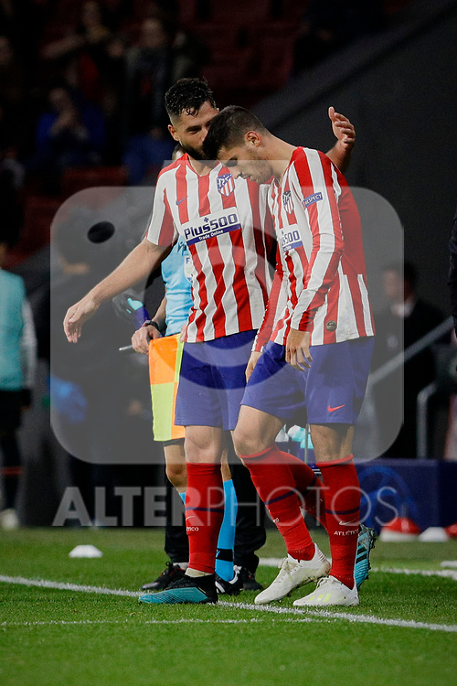 Hector Herrera (L) and Alvaro Morata (R) of Atletico de Madrid celebrate goal during the UEFA Europa League match between Atletico de Madrid and Bayer 04 Leverkusen at Wanda Metropolitano Stadium in Madrid, Spain. October 22, 2019. (ALTERPHOTOS/A. Perez Meca)