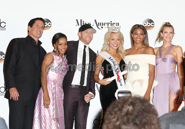 11 September 2016 - Atlantic City, New Jersey - Mark Cuban, Gabby Douglas, Cole Swindell, 2017 Miss America Savvy Shields, Ciara, Sara Foster.  2017 Miss America Savvy Shields holds her first press conference at Boardwalk Hall.  Photo Credit: MJT/AdMedia