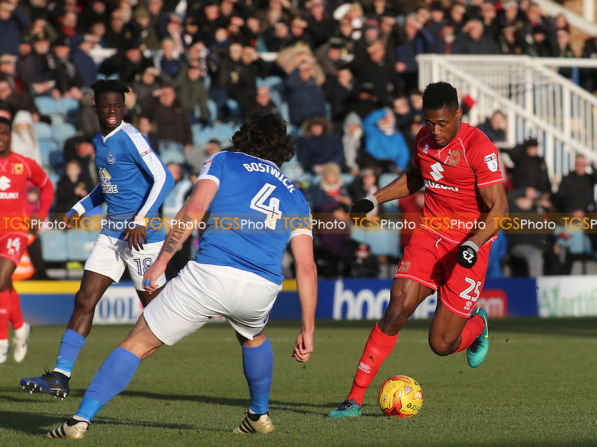 Chuks Aneke takes on the Peterborough United defence during Peterborough United vs MK Dons, Sky Bet EFL League 1 Football at London Road on 28th January 2017