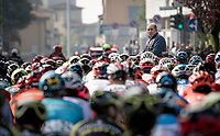 RCS race director Stefano Allocchio about to flag the real start in Bergamo<br /> <br /> 113th Il Lombardia 2019 (1.UWT)<br /> 1 day race from Bergamo to Como (ITA/243km)<br /> <br /> ©kramon