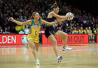 20.10.2016 Silver Ferns Grace Rasmussen and Australia's Kim Ravaillion in action during the Silver Ferns v Australia netball test match played at ILT Stadium in Invercargill. Mandatory Photo Credit ©Michael Bradley.