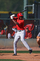 Los Angeles Angels Jimmy Barnes (31) during an instructional league game against the Oakland Athletics on October 9, 2015 at the Tempe Diablo Stadium Complex in Tempe, Arizona.  (Mike Janes/Four Seam Images)