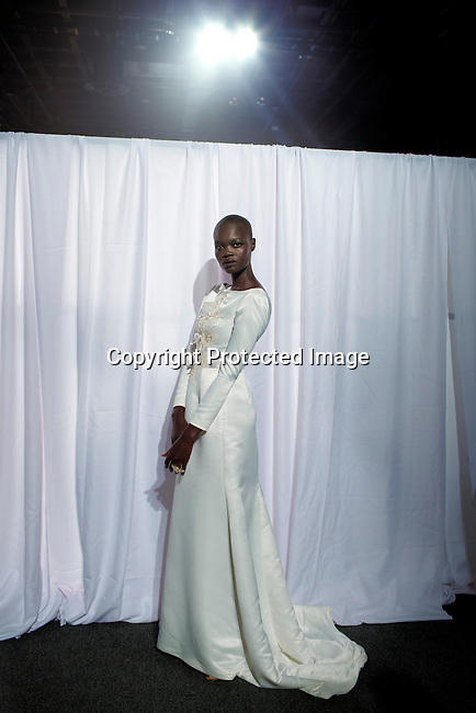 JOHANNESBURG, SOUTH AFRICA MARCH 20: Aluad Anei, a Sudanese model walking for the South African designer Abigail Betz before a show at Mercedes Benz Africa fashion autumn/ winter 2014 week on March 20, 2014 held in Johannesburg, South Africa. South African designers showed their best fall/winter collections. (Photo by: Per-Anders Pettersson)