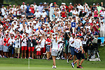 DES MOINES, IA - AUGUST 19: USA's Paula Creamer waves to the crowd after winning their match 5&3 Saturday at the 2017 Solheim Cup in Des Moines, IA. (Photo by Dave Eggen/Inertia)