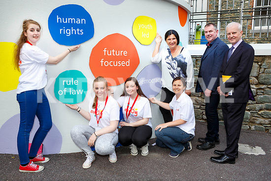 Autie Rothemund from Germany presented the Quality label for Youth Centres from the Council of Europe the Killarney KDYS on Tuesday l-r: Aimee Kerins, Caitlin O'Sullivan, Nicole Clancy, Geraldine O'Halloran, Autie Rothemund, Tim O'Donoghue and Fergal Lynch