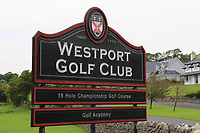 Westport Golf Club sign at the entrance during the Preview of the AIG Cups & Shields Connacht Finals 2019 in Wesport Golf Club, Westport, Co. Mayo on Thursday 8th August 2019.<br /> <br /> Picture:  Thos Caffrey / www.golffile.ie<br /> <br /> All photos usage must carry mandatory copyright credit (© Golffile | Thos Caffrey)