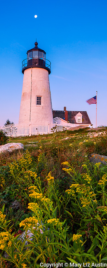 Lincoln County, ME: Pemaquid Point Lighthouse (1835) at dawn with moon set