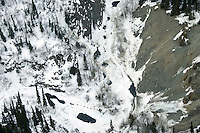 Aerial of Sled Dog Team in Dalzell Gorge Iditarod 2005 Headed to Rohn Chkpt