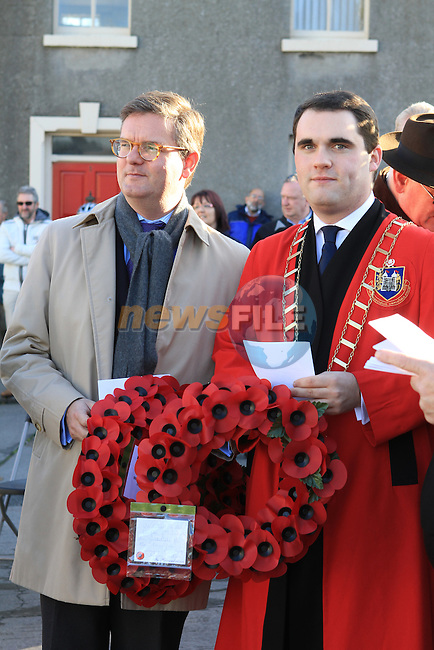 Mayor Kevin Callan with British Ambassador, Julian King at the Annual Cenotaph Remembrance Ceremony...(Photo credit should read Jenny Matthews www.newsfile.ie)....This Picture has been sent you under the conditions enclosed by:.Newsfile Ltd..The Studio,.Millmount Abbey,.Drogheda,.Co Meath..Ireland..Tel: +353(0)41-9871240.Fax: +353(0)41-9871260.GSM: +353(0)86-2500958.email: pictures@newsfile.ie.www.newsfile.ie.