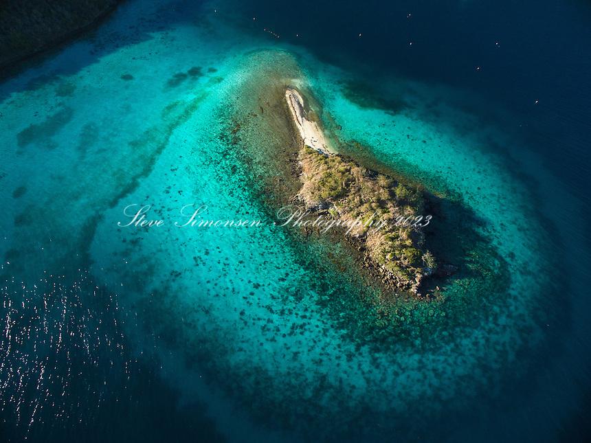 Aerial view of Waterlemon Cay<br /> Virgin Islands National Park<br /> St. John<br /> US Virgin Islands