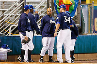 21 September 2012: Keino Perez is seen in the bullpen during France vs South Africa tie game 2-2, rain delayed at the end of the 9th inning at 1 AM, during the 2012 World Baseball Classic Qualifier round, in Jupiter, Florida, USA. Game to resume 22 September 2012 at noon.