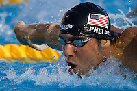 Michael Phelps competes during 200 m Men Butterfly competition he won during the 13th FINA Swimming World Championships held in Rome, Italy. Wednesday, 29. July 2009. ATTILA VOLGYI