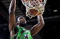 Jets' Kuran Iverson slamdunks during the national basketball league match between Wellington Saints and Manawatu Jets at TSB Bank Arena in Wellington, New Zealand on Friday, 25 May 2018. Photo: Dave Lintott / lintottphoto.co.nz