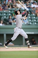 Shortstop Tyler Fitzgerald (6) of the Augusta GreenJackets bats in a game against the Greenville Drive on Thursday, August 29, 2019, at Fluor Field at the West End in Greenville, South Carolina. Augusta won, 11-0. (Tom Priddy/Four Seam Images)