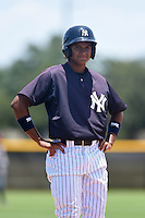 GCL Yankees 1 outfielder Leonardo Molina (18) during the first game of a doubleheader against the GCL Braves on July 1, 2014 at the Yankees Minor League Complex in Tampa, Florida.  GCL Yankees 1 defeated the GCL Braves 7-1.  (Mike Janes/Four Seam Images)