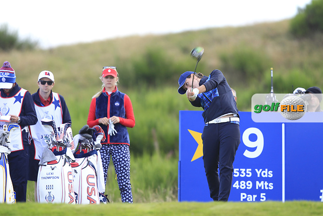 Carlota Ciganda of Team Europe on the 9th tee during Day 1 Fourball at the Solheim Cup 2019, Gleneagles Golf CLub, Auchterarder, Perthshire, Scotland. 13/09/2019.<br /> Picture Thos Caffrey / Golffile.ie<br /> <br /> All photo usage must carry mandatory copyright credit (© Golffile   Thos Caffrey)