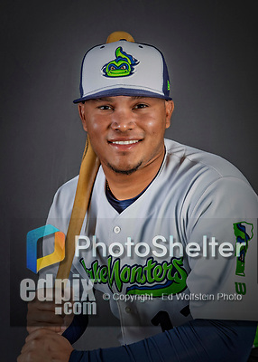 11 June 2019: Vermont Lake Monsters infielder Jordan Diaz poses for a portrait on Photo Day at Centennial Field in Burlington, Vermont. The Lake Monsters are the Single-A minor league affiliate of the Oakland Athletics and play a short season in the NY Penn League Stedler Division. Mandatory Credit: Ed Wolfstein Photo *** RAW (NEF) Image File Available ***