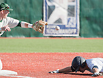 February 24, 2012:   Nevada Wolf Pack runner Joe Kohan dives head first into third after hitting a triple as Utah Valley Wolverines third baseman Jake Rickenbach attempts the tag during  their NCAA baseball game played at Peccole Park on Friday afternoon in Reno, Nevada.