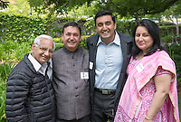 From left, family in town for commencement from Bangkok: grandfather Narendra Verma, father Anil Saravat, graduate Sid Saravat and his mother Namita Saravat. Graduating seniors and their families and friends attend Brunch with President Jonathan Veitch at Collins House, May 16, 2015. (Photo by Marc Campos, Occidental College Photographer)