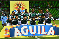 PALMIRA - COLOMBIA, 02-09-2018: Jugadores del Cali posan para una foto durante los actos protocolarios previo al partido entre el Deportivo Cali y Atlético Junior por la fecha 7 de la Liga Águila II 2017 jugado en el estadio Palmaseca de Cali. / Players of Cali pose to a photo during the formal events prior the match between Deportivo Cali and Atletico Junior for the date 7 of the Aguila League II 2017 played at Palmaseca stadium in Cali.  Photo: VizzorImage/ Nelson Rios / Cont