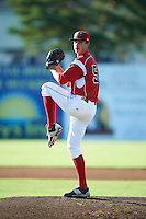 Batavia Muckdogs pitcher Jordan Holloway (56) delivers a pitch during a game against the Mahoning Valley Scrappers on June 23, 2015 at Dwyer Stadium in Batavia, New York.  Mahoning Valley defeated Batavia 11-2.  (Mike Janes/Four Seam Images)