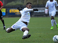 Junior Albert commits to a tackle during the 2019 OFC Champions League quarter final football match between Team Wellington and Henderson Eels at David Farrington Park in Wellington on Sunday, 7 April 2019. Photo: Dave Lintott / lintottphoto.co.nz