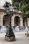 Havana, Cuba; wrought iron street lamps along the Plaza de Armas were added in 1834