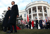 United States President Barack Obama (R) walks with President Hu Jintao of China during a State arrival ceremony on the South Lawn of the White House, Wednesday,  January 19, 2011 in Washington, DC. Obama and Hu are scheduled to meet in the Oval Office later in the day, hold a joint press conference and attend a State dinner.  .Credit: Mark Wilson / Pool via CNP