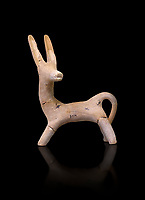 Early Cretian Minoan goat shaped clay vessel, 2300-1900 BC,  Heraklion Archaeological  Museum cat no 5114, black background.