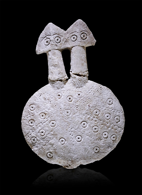 Bronze Age Anatolian two headed disk shaped alabaster Goddess figurine - 19th to 17th century BC - Kültepe Kanesh - Museum of Anatolian Civilisations, Ankara, Turkey.  Against a black background.