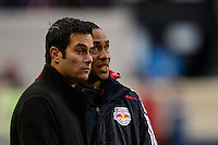 New York Red Bulls head coach Mike Petke talks with assistant coach Robin Fraser. The New York Red Bulls and Chivas USA played to a 1-1 tie during a Major League Soccer (MLS) match at Red Bull Arena in Harrison, NJ, on March 30, 2014.