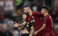 Football, Serie A: AS Roma - Frosinone, Olympic stadium, Rome, 26 September 2018. <br /> Roma's Aleksandar Kolarov (l) celebrates after scoring with his teammate Cengiz Under (r) during the Italian Serie A football match between AS Roma and Frosinone at Olympic stadium in Rome, on September 26, 2018.<br /> UPDATE IMAGES PRESS/Isabella Bonotto