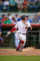 Florida Fire Frogs designated hitter Brett Cumberland (4) follows through on a swing during a game against the St. Lucie Mets on July 23, 2017 at Osceola County Stadium in Kissimmee, Florida.  St. Lucie defeated Florida 3-2.  (Mike Janes/Four Seam Images)
