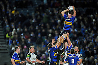 Ross Molony of Leinster Rugby wins the ball at a lineout. European Rugby Champions Cup match, between Leinster Rugby and Bath Rugby on January 16, 2016 at the RDS Arena in Dublin, Republic of Ireland. Photo by: Patrick Khachfe / Onside Images